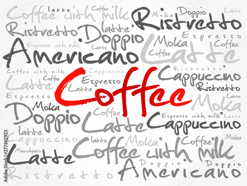 Fotografie, Obraz  List of coffee drinks words cloud collage, poster background