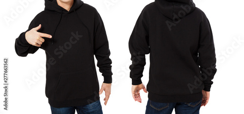 Pinturas sobre lienzo  Pointed man in black sweatshirt template isolated