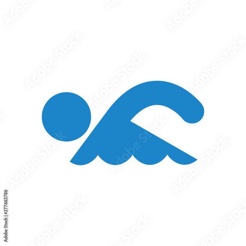 Photo  Icono plano nadador en color azul