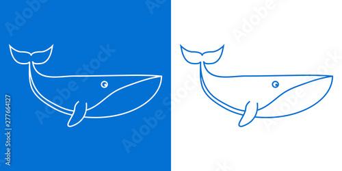 Photo  Icono plano lineal ballena en azul y blanco