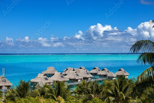 Blue Lagoon Of The Bora Bora Island Polynesia Top View On