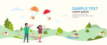 Couple Catching Parcel Box Falling Down With Parachute From Sky Shipping Package Air Mail Express Postal Delivery Concept Countryside Landscape Background Full Length Flat Horizontal Copy Space