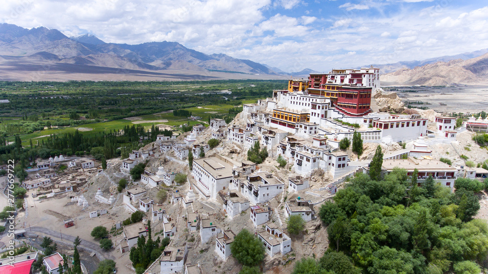 Fototapety, obrazy: Thikse Gompa or Thikse Monastery is a gompa affiliated with the Gelug sect of Tibetan Buddhism. It is located on top of a hill in Thiksey approximately 19 kilometres east of Leh in Ladakh, India.