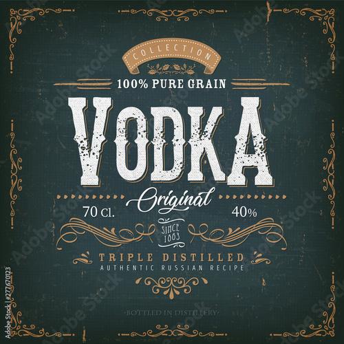 Valokuva Vintage Vodka Label For Bottle/ Illustration of a vintage design elegant vodka l
