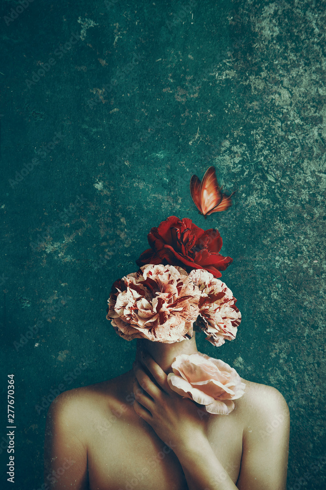 Fototapeta Strange fine art concept. The body of a woman and a bouquet of flowers and butterfly. Image