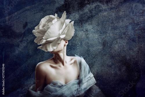 Obraz Strange fine art concept. The body of a woman, her head is a rose. - fototapety do salonu