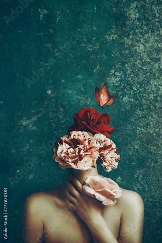 Obraz Strange fine art concept. The body of a woman and a bouquet of flowers and butterfly. Image - fototapety do salonu