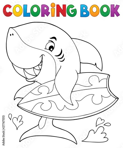 Deurstickers Voor kinderen Coloring book surfer shark theme 1