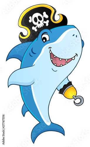 Fotobehang Voor kinderen Pirate shark topic image 8
