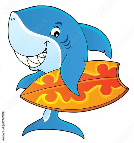 Foto op Plexiglas Voor kinderen Surfer shark theme image 1