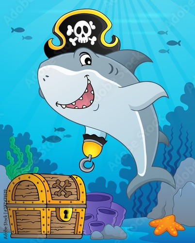 Deurstickers Voor kinderen Pirate shark topic image 9