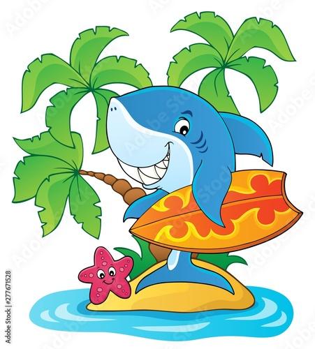 Foto op Plexiglas Voor kinderen Surfer shark theme image 2