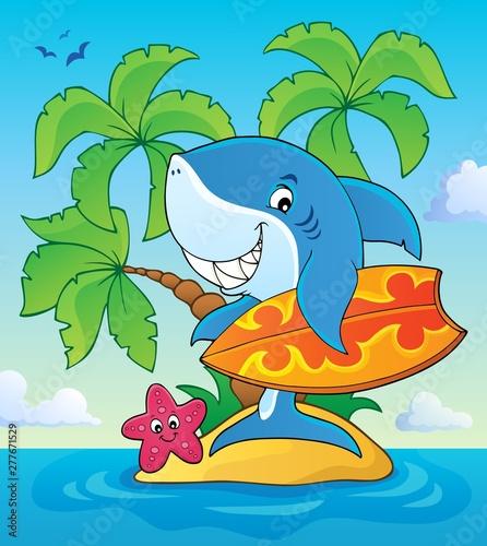 Foto op Plexiglas Voor kinderen Surfer shark theme image 3