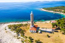 Aerial View Of Lighthouse Of Veli Rat On The Island Of Dugi Otok, Croatia, Beautiful Seascape