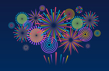 Fireworks Background. Vector