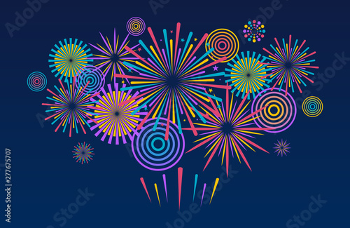 Canvas Print Fireworks background. Vector