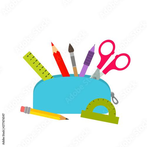Stampa su Tela Bright school pencil case with filling school stationery such as pens, pencils, scissors, ruler, tassels