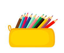 A Bright School Pencil Case Filled With School Stationery, Such As Pens, Pencils, Concept Of September 1, Go To School.