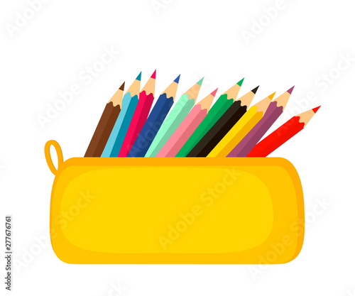 Fotomural A bright school pencil case filled with school stationery, such as pens, pencils, Concept of September 1, go to school