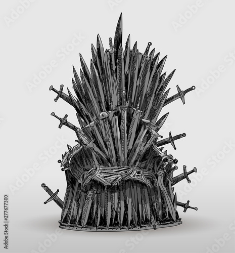 Fototapeta  Iron throne hand drawn of Westeros made of antique swords or metal blades