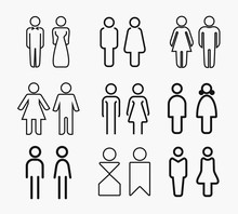 Set Of Woman And Man Sign Line Icon. Outline Vector Illustration. Linear Pictogram Isolated On White.