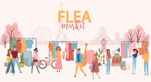 Flea Market Poster With People Selling And Shopping At Walking Street, Vintage Clothes And Accessories Shop On Paris Background, Cartoon Flat Design. Editable Vector Illustration