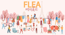 Flea Market Poster With People...