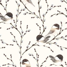 Seamless Pattern Of Willow Branches And Birds Black-capped Chickadee, Vector Illustration On Ivory Background In Vintage Watercolor Style.