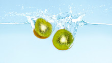 Fresh Cut Kiwi With Clear Wate...