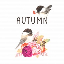 Autumn Card With Birds Chickadee And Flowers Ranunculus, Peony, Branches Oak And Acorns, Rowan. Vector Floral Illustration.