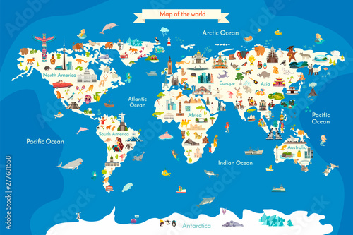 Fototapeta Animals world landmarks map for kid. World vector poster for children, cute illustrated. Cartoon globe with animals. Oceans and continent: South America, Eurasia, North America, Africa, Australia obraz