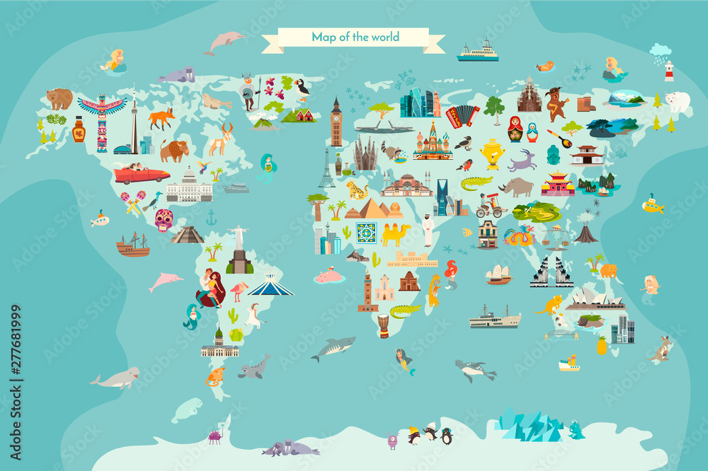 Fototapety, obrazy: Landmarks world map vector cartoon illustration. Cartoon globe vector illustration.Oceans and continent: South America, Eurasia, North America, Africa, Australia