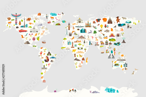 Landmarks world map vector cartoon illustration. Cartoon globe vector illustration. Oceans and continent: South America, Eurasia, North America, Africa, Australia