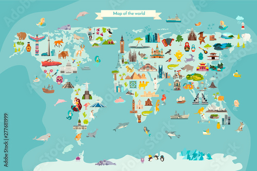 mata magnetyczna Landmarks world map vector cartoon illustration. Cartoon globe vector illustration.Oceans and continent: South America, Eurasia, North America, Africa, Australia