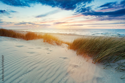 Photo sur Toile Cote Grassy dunes and the Baltic sea at sunset
