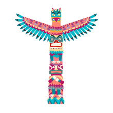 Totem Poles Vector Illustratio...