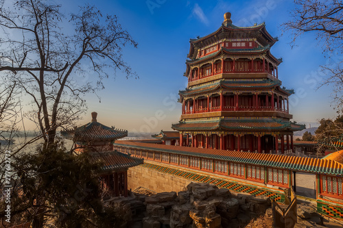 Photo sur Aluminium Pekin The Summer Palace in Beijing with blue sky