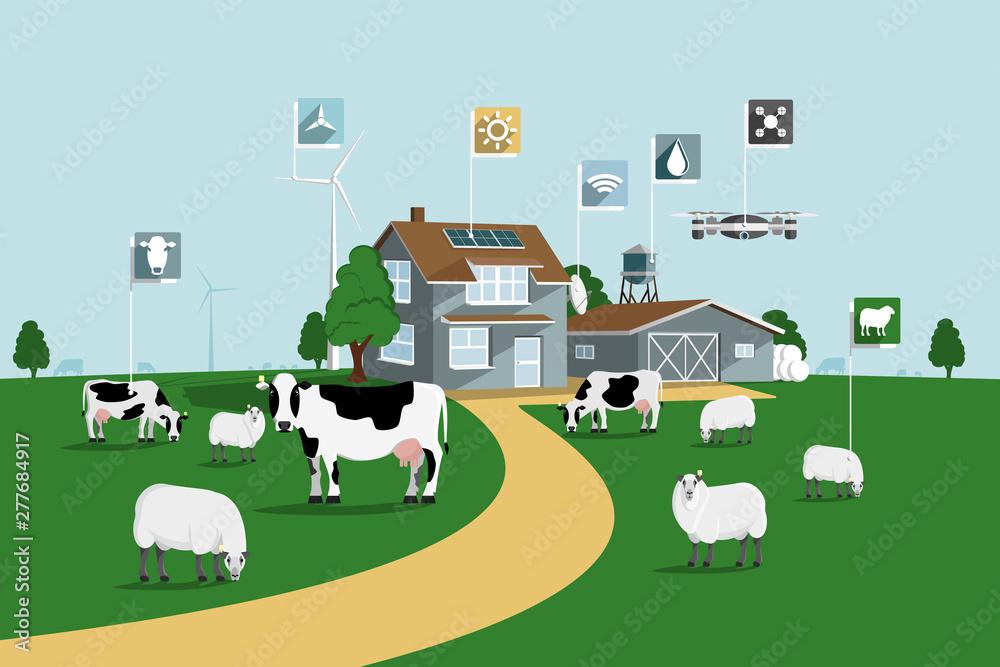 Fototapety, obrazy: Modern smart farm. Digital agriculture. Vector illustration