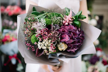 Very Nice Young Woman Holding Beautiful Tender Blossoming Bouquet Of Fresh Hydrangea, Roses, Carnations, Eustoma Flowers In Purple And Green Colours