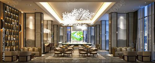 Fototapeta 3d render luxury hotel lobby reception obraz