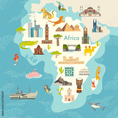Africa continent, world map with landmarks vector cartoon