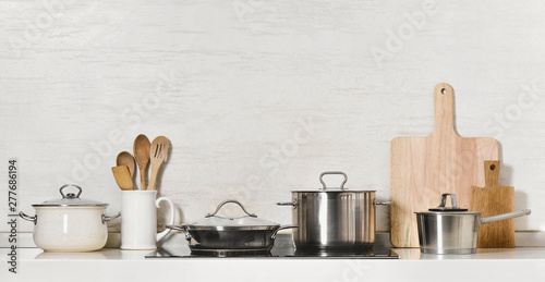 Cuadros en Lienzo Kitchen utensils and stainless steel cookware