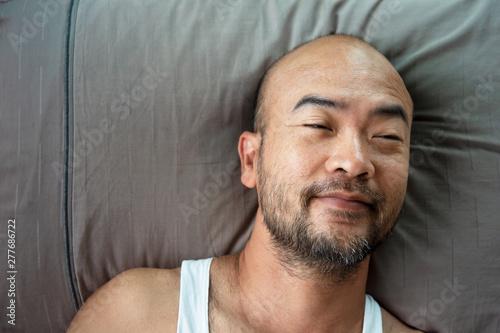 40s beard bald Japanese adult portrait sleep on grey pillow background Poster Mural XXL