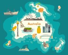 Australia Continent, World Vector Map With Landmarks Cartoon Illustration