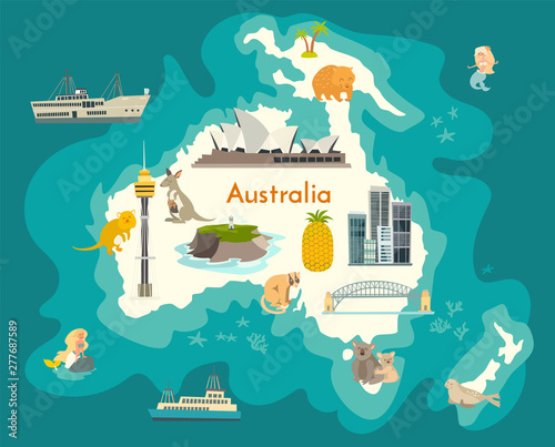 Australia Map Landmarks.Australia Continent World Vector Map With Landmarks Cartoon