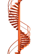 Orange Spiral Stairs Isolated On White