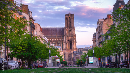 Beautiful lateral view on Reims cathedral in evening light, Reims, Champagne, France