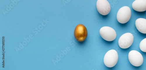 One unique golden egg standing opposite of identical ones Canvas Print