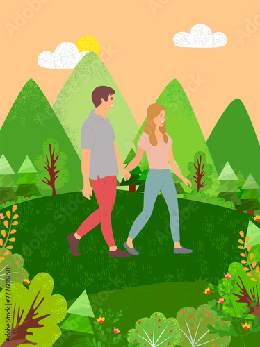 Couple man and woman walking in forest among green bushes, firs and pines. Vector people holding hands, summertime, rest in park, blooming plants and hills