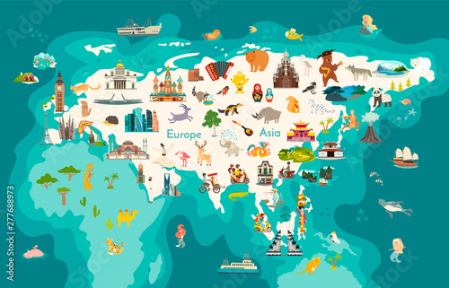 Foto Eurasia continent, world map with landmarks vector cartoon illustration